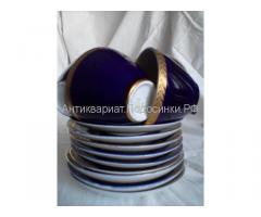 кофейные пары синий кобальт позолоченные ЛФЗ