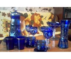 посуда старинная синее стекло резьба