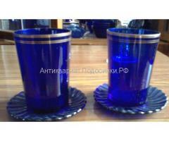 стаканы тонкого синего стекла
