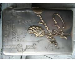 портсигар серебро с золотом 1910 года